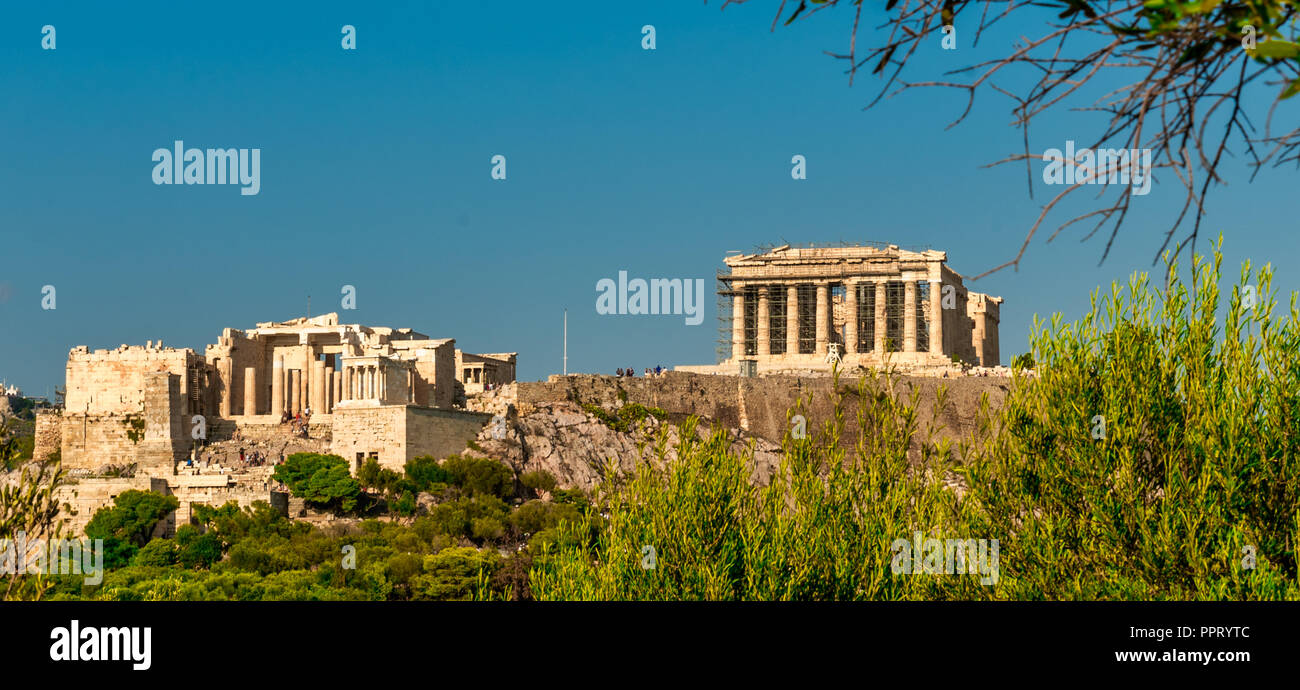The Parthenon and the Propylaea on a clear day with no clouds - Stock Image