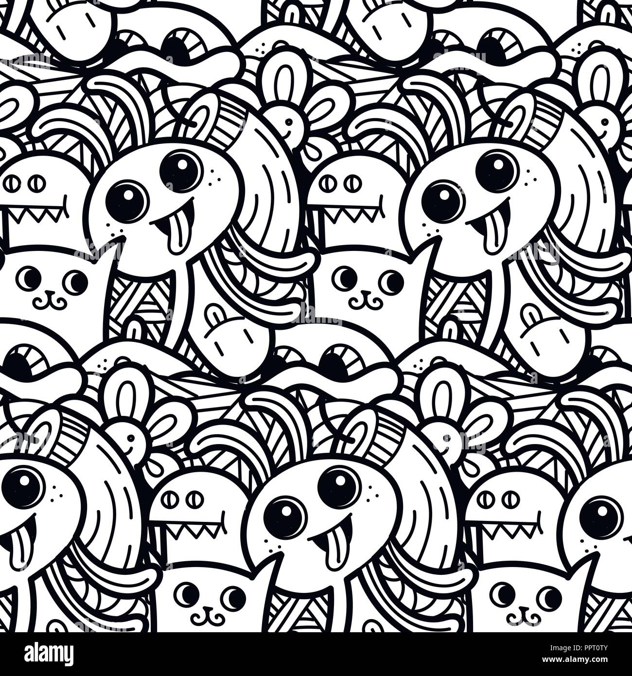 Funny doodle monsters seamless pattern for prints designs and children books vector illustration for coloring pages