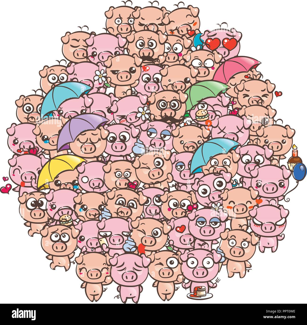 Background with cute baby piglets  Pastel cartoon image kawaii pigs