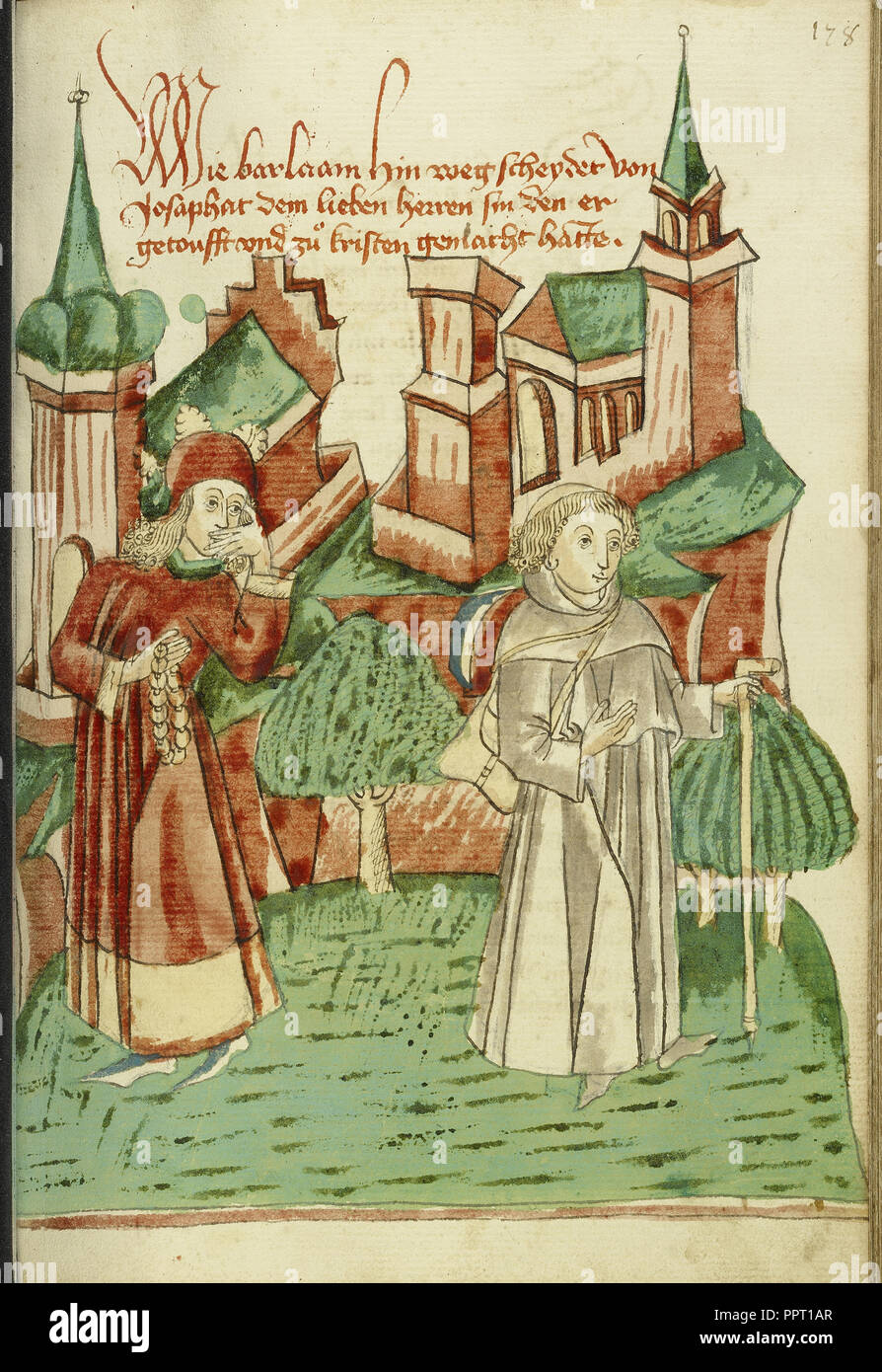 Barlaam Departs as Josaphat Watches him Sadly; Follower of Hans Schilling, German, active 1459 - 1467) - Stock Image