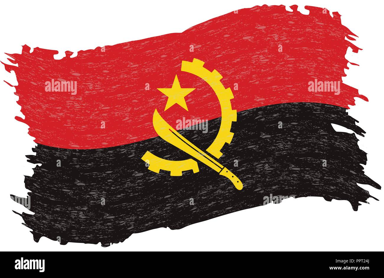 Flag of Angola, Grunge Abstract Brush Stroke Isolated On A White Background. Vector Illustration. - Stock Image