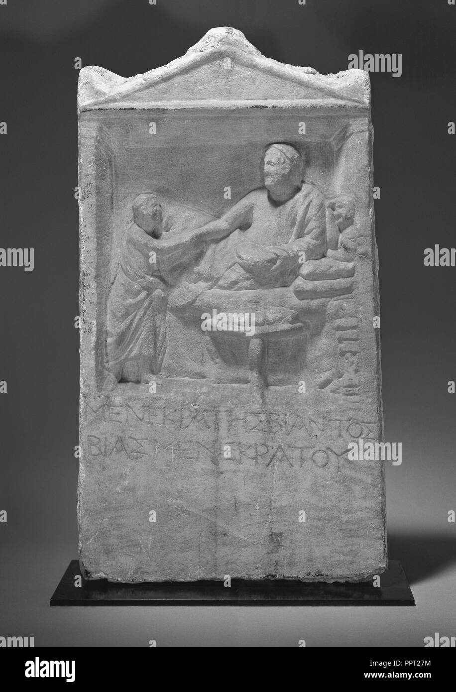 Grave Stele of Menekrates; Asia Minor; about 150 B.C; Marble; 55 × 30.5 × 6 cm, 21 5,8 × 12 × 2 3,8 in - Stock Image