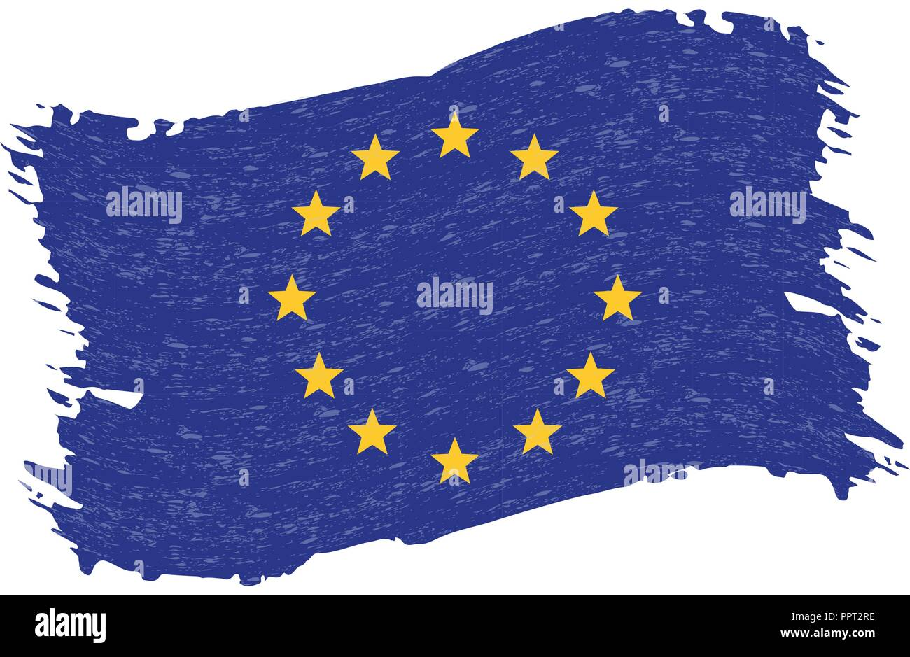 Flag of The European Union, Grunge Abstract Brush Stroke Isolated On A White Background. Vector Illustration. - Stock Image