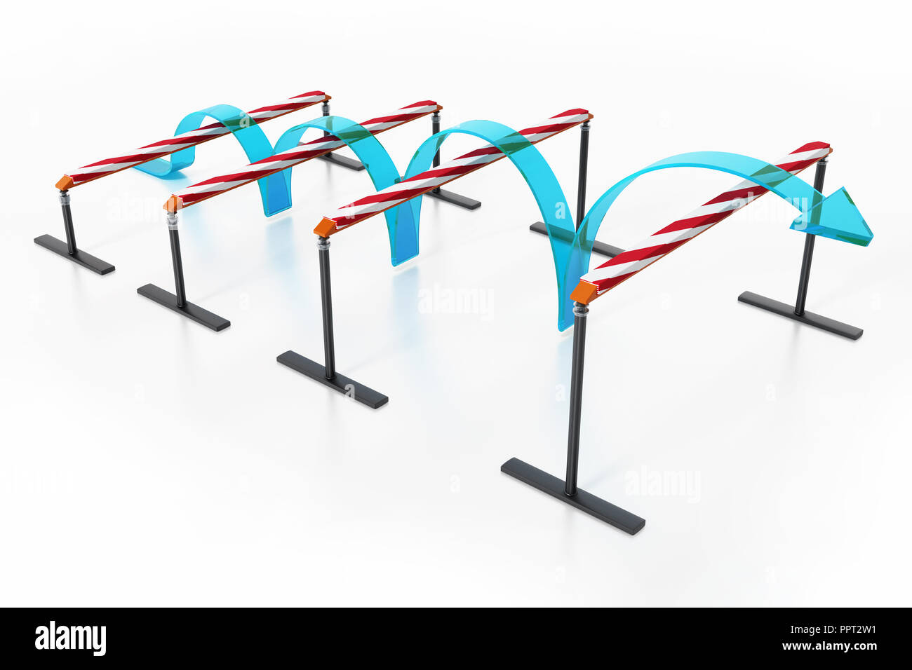 Blue arrow jumping over the obstacles. 3D illustration. - Stock Image