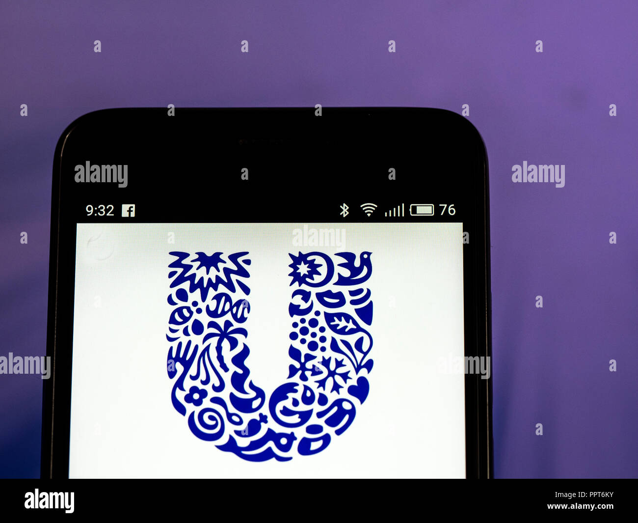 Unilever logo seen displayed on smart phone. Unilever is a British-Dutch transnational consumer goods company co-headquartered in London, United Kingdom and Rotterdam, Netherlands. Its products include food and beverages, cleaning agents and personal care products. - Stock Image
