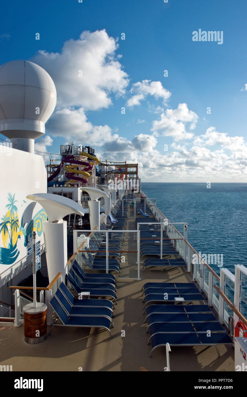 View of the top deck of the Norwegian Breakaway voyaging across the Atlantic Ocean to Bermuda. - Stock Image