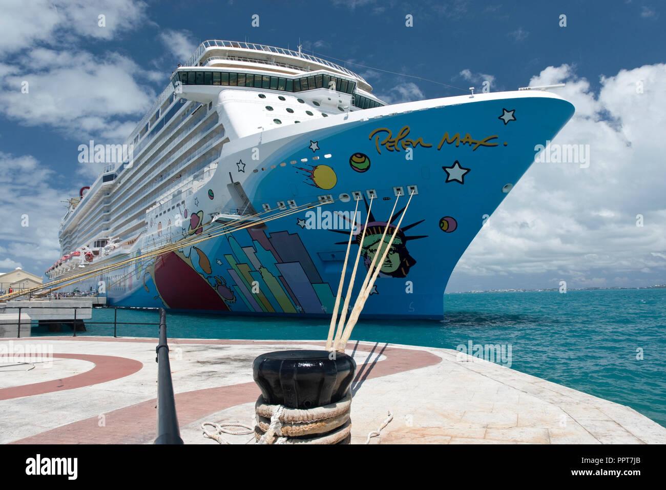 The Norwegian Breakaway cruise ship moored at Kings Wharf, at the dockyard in Bermuda. - Stock Image
