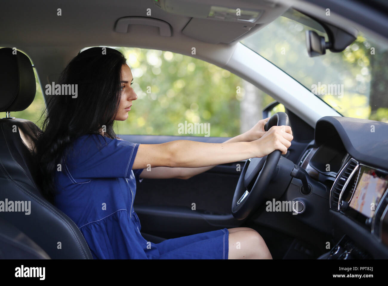 Woman On The Front Seat By The Steering Wheel Stock Photo 220580042
