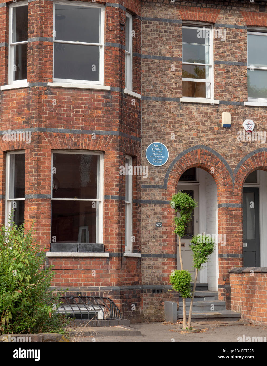 Paul Young musician and songwriter lived here at 63 Hale Road, Altrincham, Trafford, Greater Manchester, England, UK - Stock Image