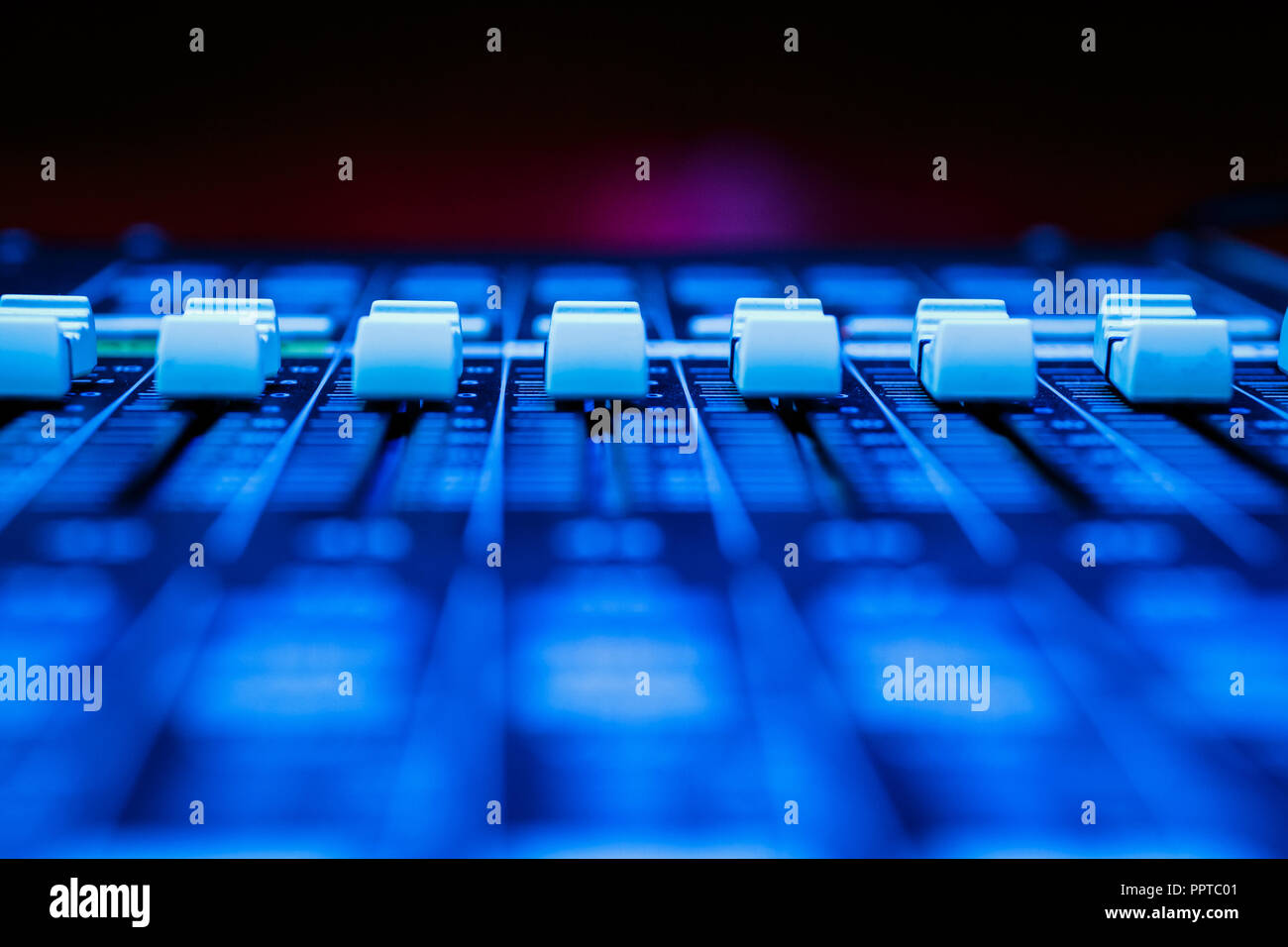 Professional Audio Sound Mixing Console Faders, - Stock Image