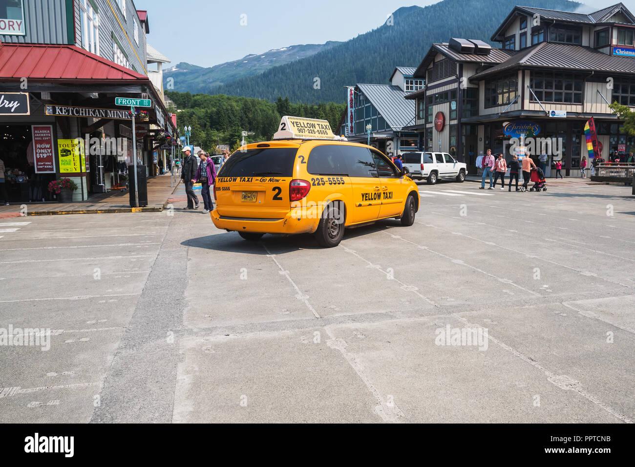 Alaska yellow taxi, Ketchikan, Alaska, USA, - Stock Image