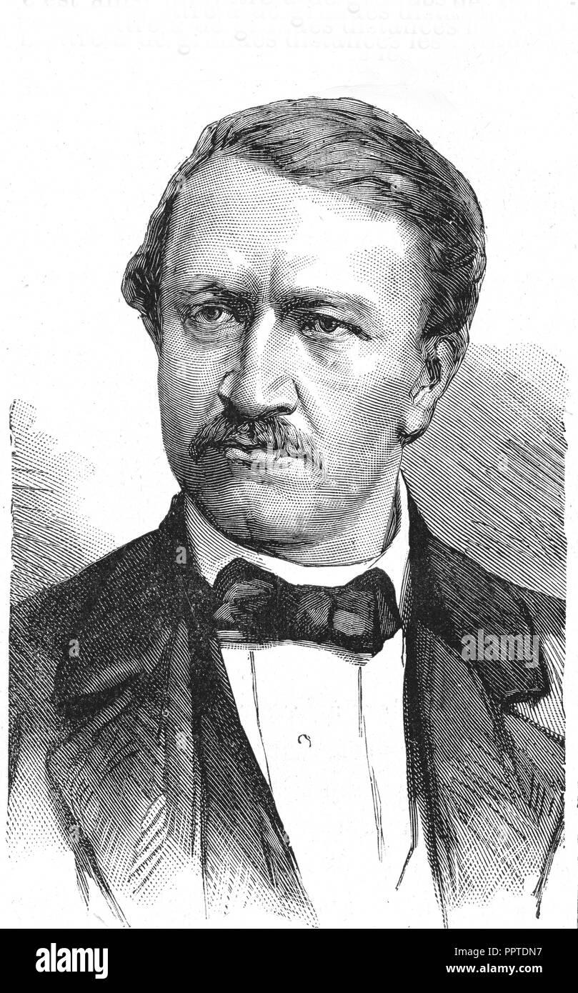 Philipp Reis, german engineer in telephon industry, print, 1867, Germany - Stock Image