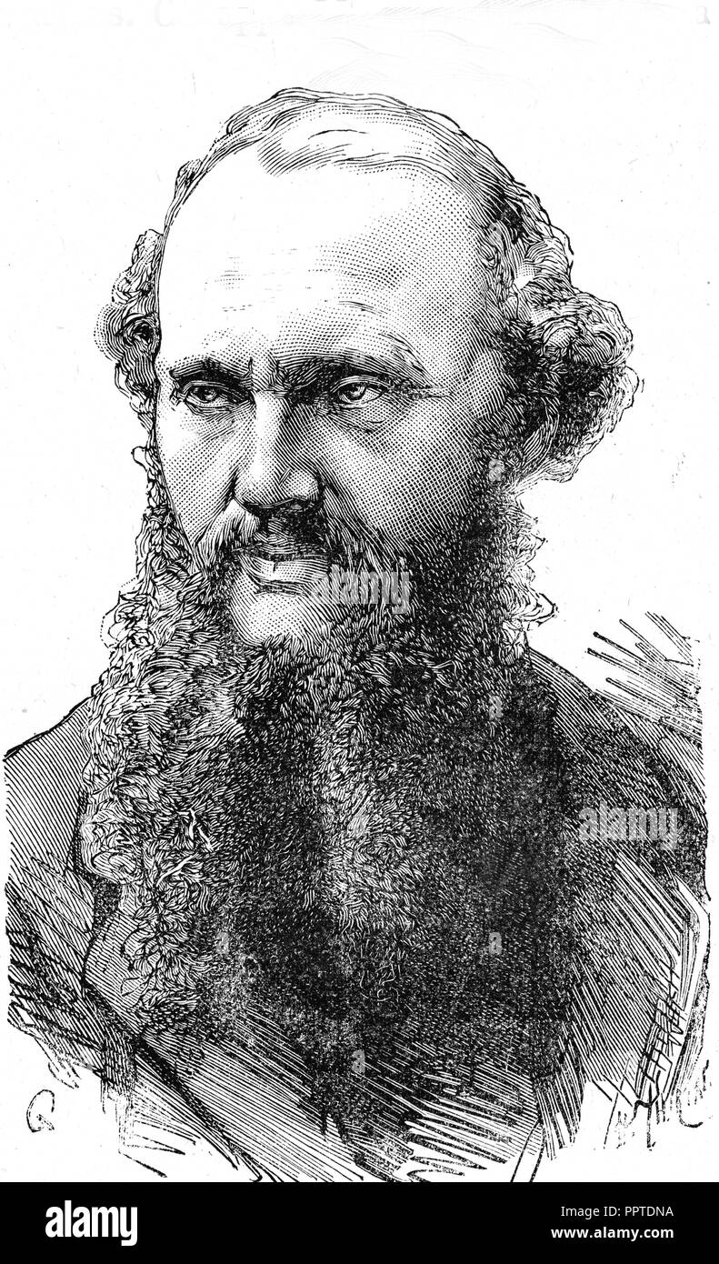 William Thompson, Lord Kelvin, 1824-1907, english physicist, specialized in electricity and thermodynamics, print, 1867 - Stock Image