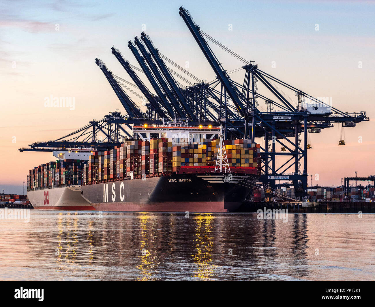 UK Trade - Containers Ships being loaded and unloaded in the Port of Felixstowe, the UK's largest container port. - Stock Image