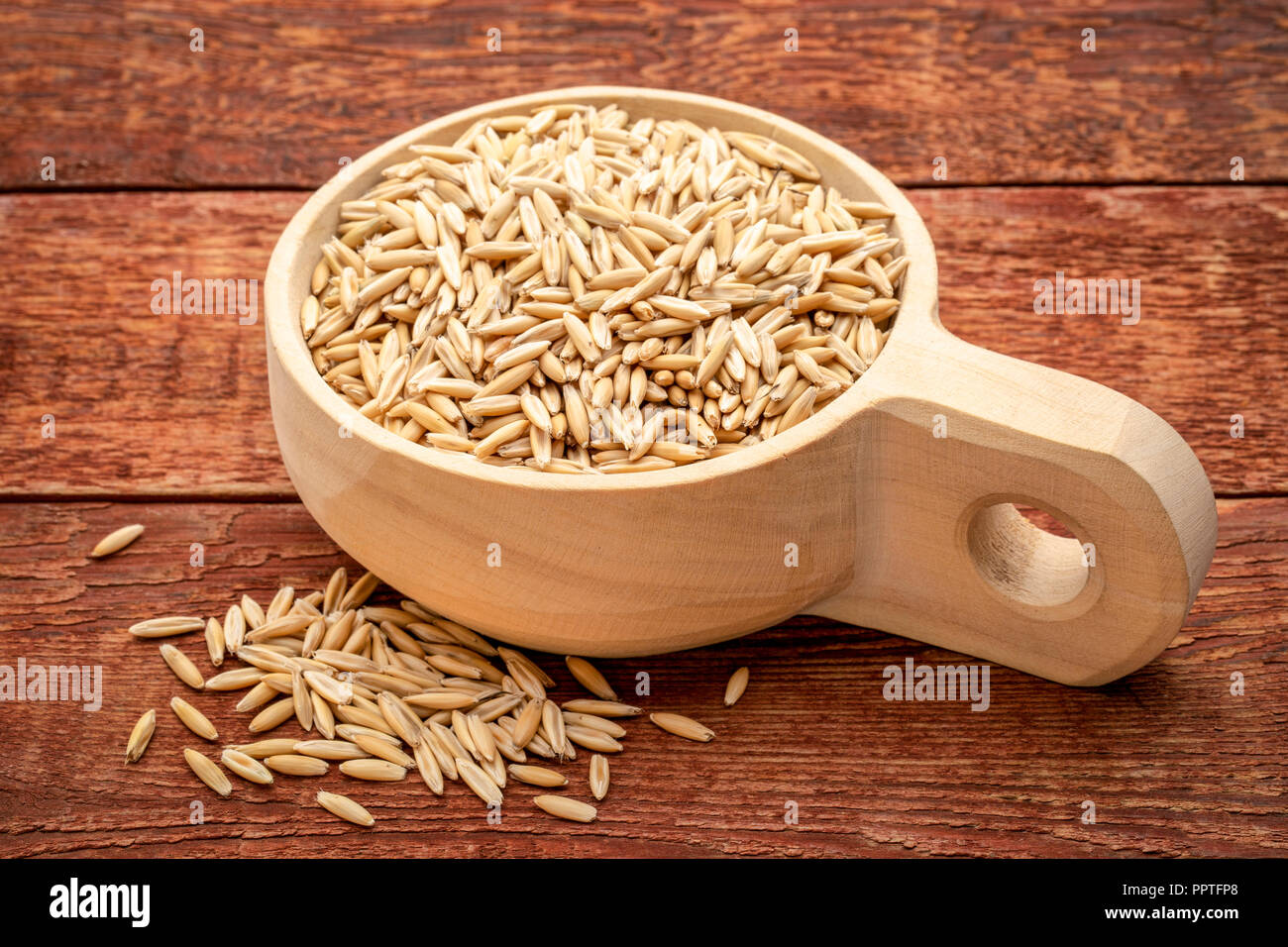 organic, whole oat groats in a wooden scoop against red barn wood