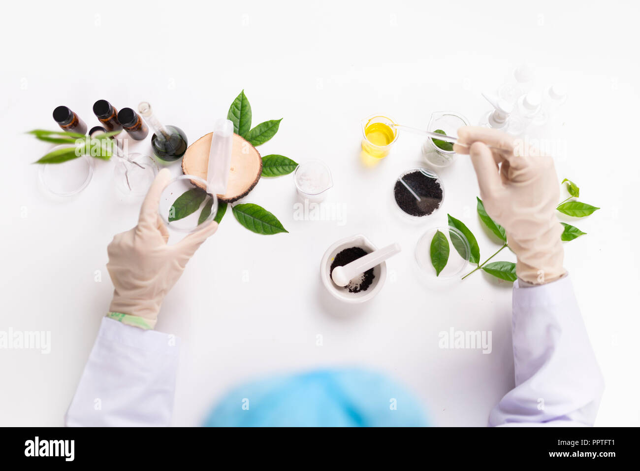 the scientist,dermatologist testing the organic natural cosmetic