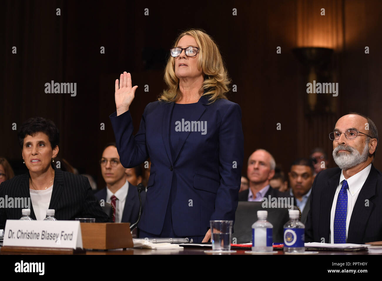 Christine Blasey Ford, the woman accusing Supreme Court nominee Brett Kavanaugh of sexually assaulting her at a party 36 years ago, testifies before the US Senate Judiciary Committee on Capitol Hill in Washington, DC, September 27, 2018.  / POOL / SAUL LOEB | usage worldwide Stock Photo
