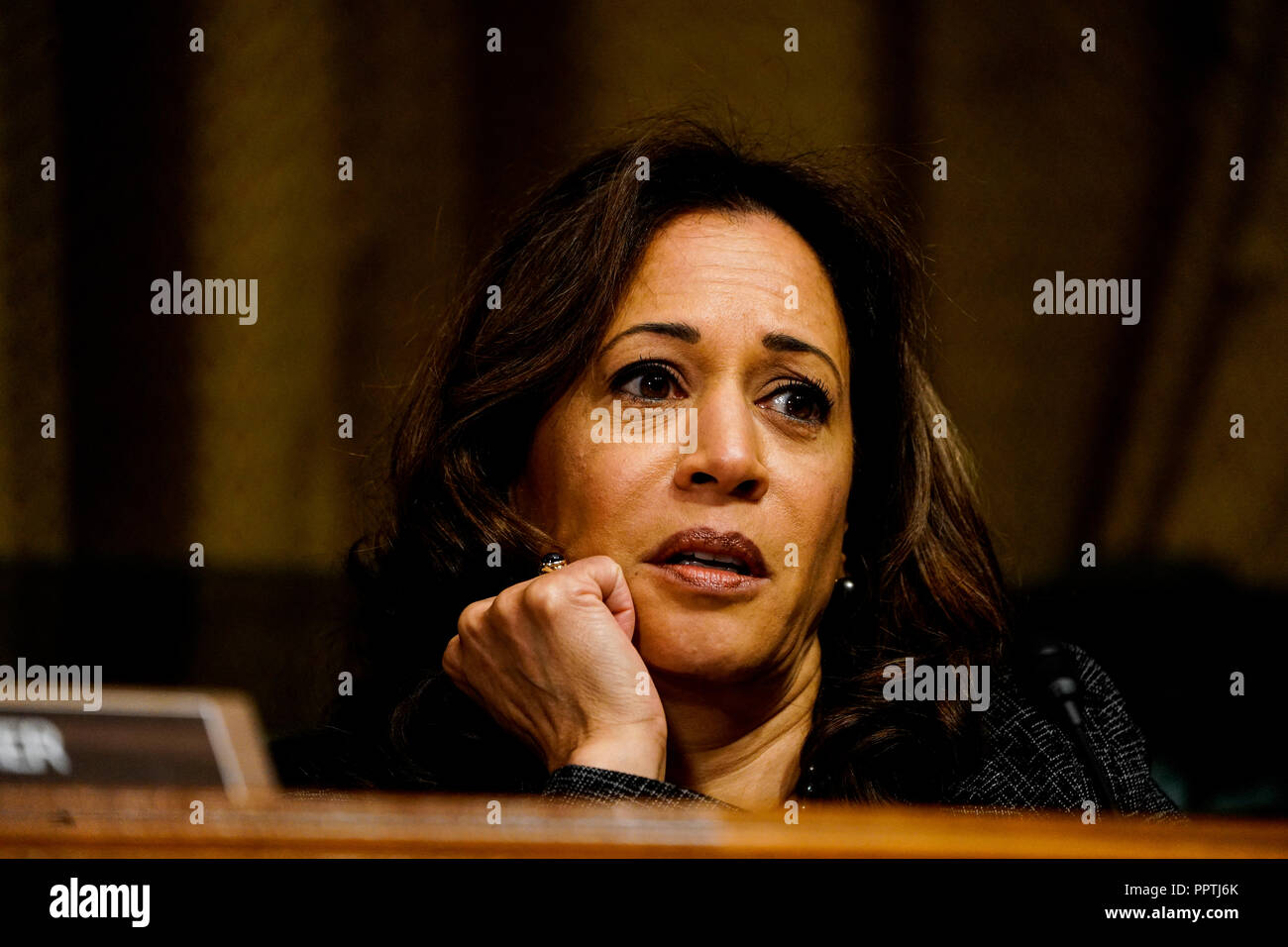 WASHINGTON, DC - SEPTEMBER 27: Sen. Kamala D. Harris (D-Calif.) at a Senate Judiciary Committee hearing on Thursday, September 27, 2018 on Capitol Hill. (Melina Mara/Pool/The Washington Post) | usage worldwide - Stock Image