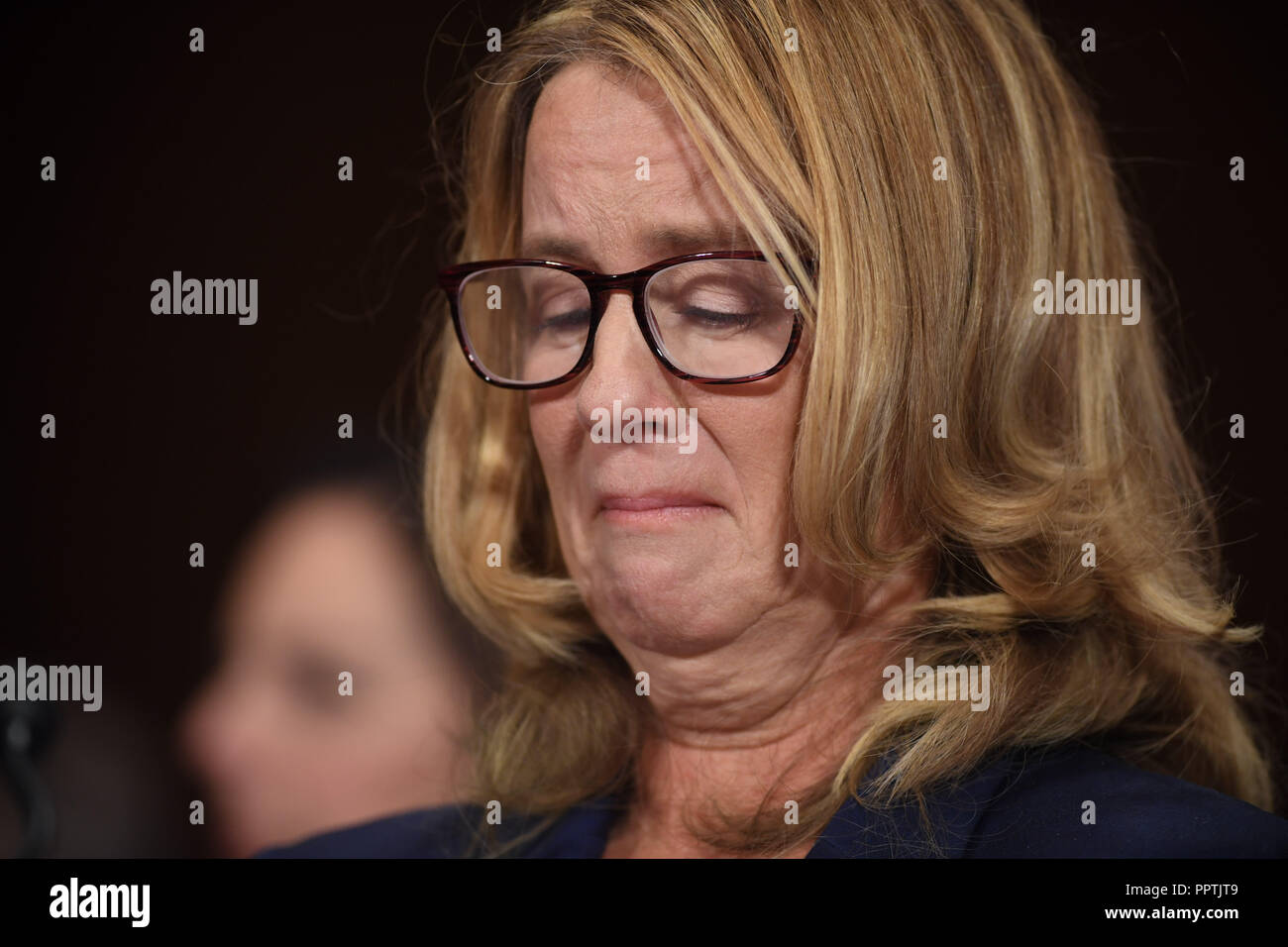 Christine Blasey Ford, the woman accusing Supreme Court nominee Brett Kavanaugh of sexually assaulting her at a party 36 years ago, testifies before the US Senate Judiciary Committee on Capitol Hill in Washington, DC, September 27, 2018.  / POOL / SAUL LOEB   usage worldwide Stock Photo