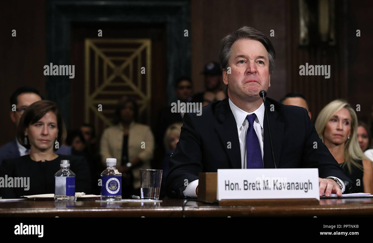 Washington, DC, USA. 27th Sep, 2018. Judge Brett Kavanaugh testifies to the Senate Judiciary Committee during his Supreme Court confirmation hearing in the Dirksen Senate Office Building on Capitol Hill September 27, 2018 in Washington, DC.  (Photo by Win McNamee/Getty Images) Credit: Win Mcnamee/CNP/ZUMA Wire/Alamy Live News. - Stock Image
