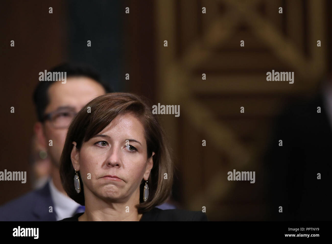 Washington, DC, USA. 27th Sep, 2018. Ashley Kavanaugh listens to her husband, Judge Brett Kavanaugh testify before the Senate Judiciary Committee during his Supreme Court confirmation hearing in the Dirksen Senate Office Building on Capitol Hill September 27, 2018 in Washington, DC.  (Photo by Win McNamee/Getty Images) Credit: ZUMA/Alamy Live News - Stock Image