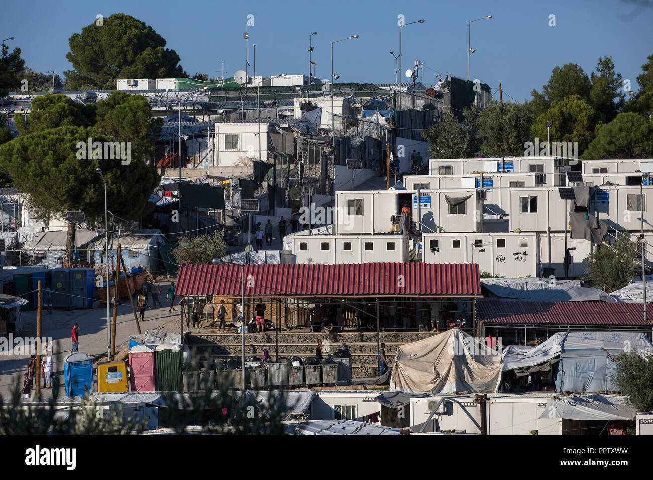 Moira, Greece. 24th Sep, 2018. View of a part of the refugee camp Moria. Credit: Socrates Baltagiannis/dpa/Alamy Live News - Stock Image
