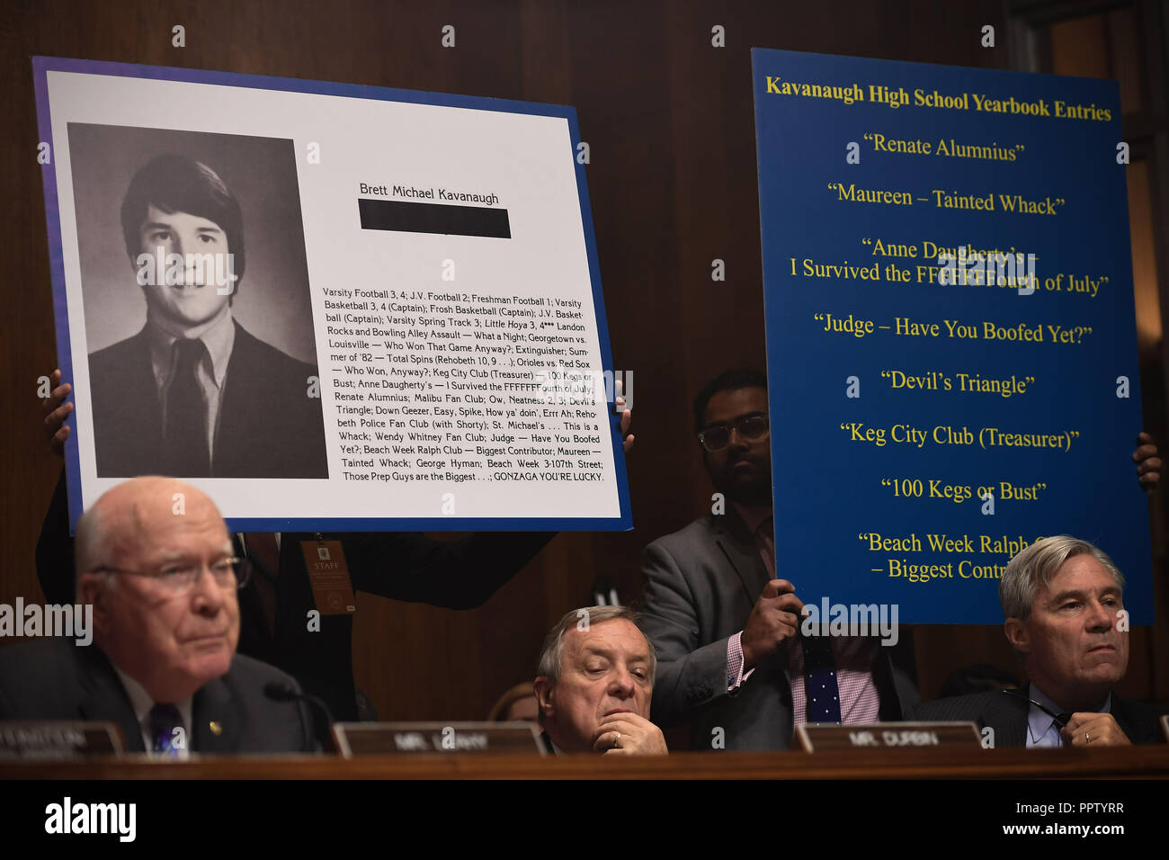 Washington, USA. 27th Sep, 2018. Extracts of his high school yearbook are displayed as Supreme Court nominee Brett Kavanaugh testifies before the US Senate Judiciary Committee on Capitol Hill in Washington, DC, September 27, 2018. Credit: Pool/CNP/AdMedia/Newscom/Alamy Live News Credit: Newscom/Alamy Live News Stock Photo