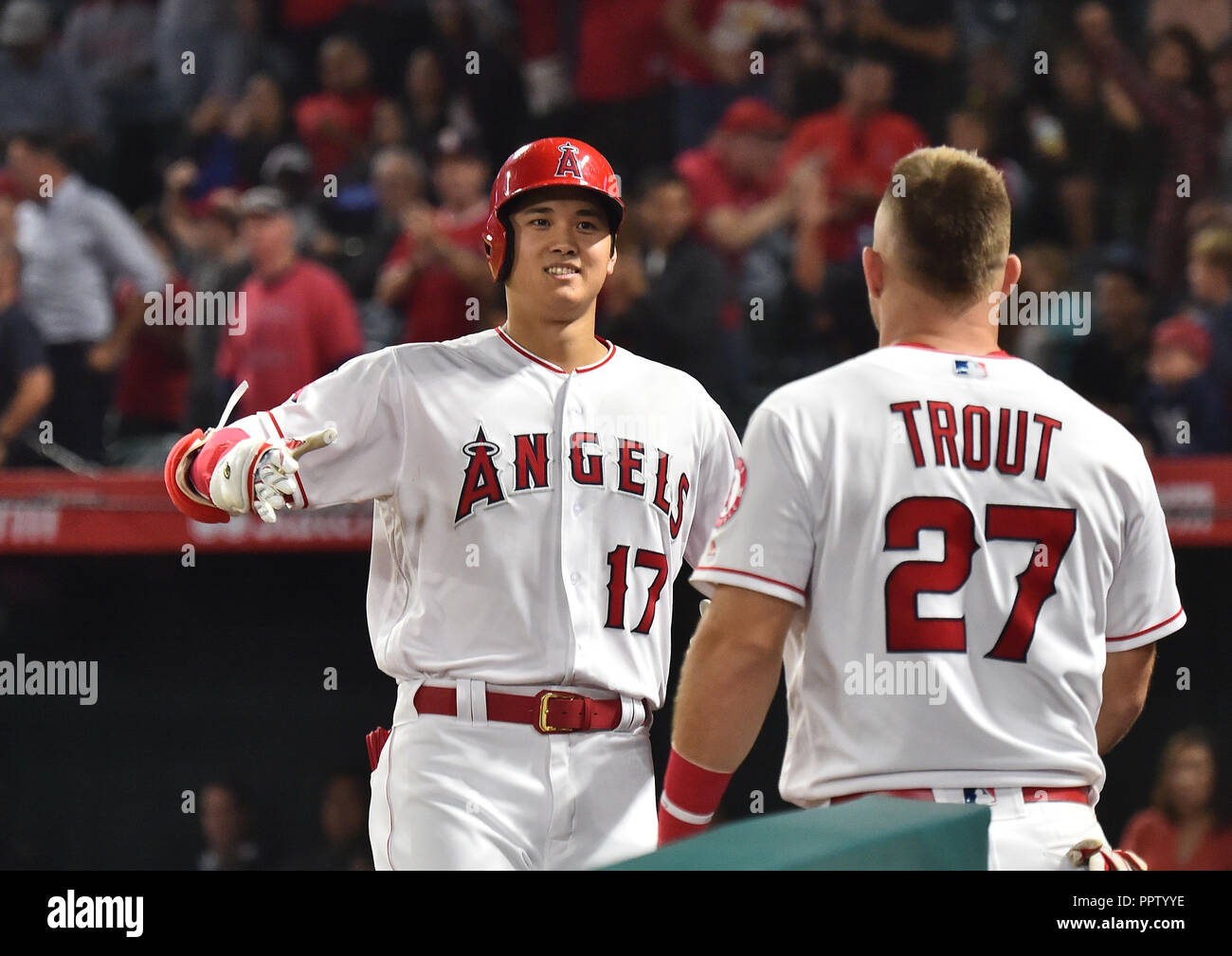 441cc7a3b Los Angeles Angels designated hitter Shohei Ohtani is greeted by teammate Mike  Trout as he returns to the dugout after hitting a solo home run in the  eighth ...