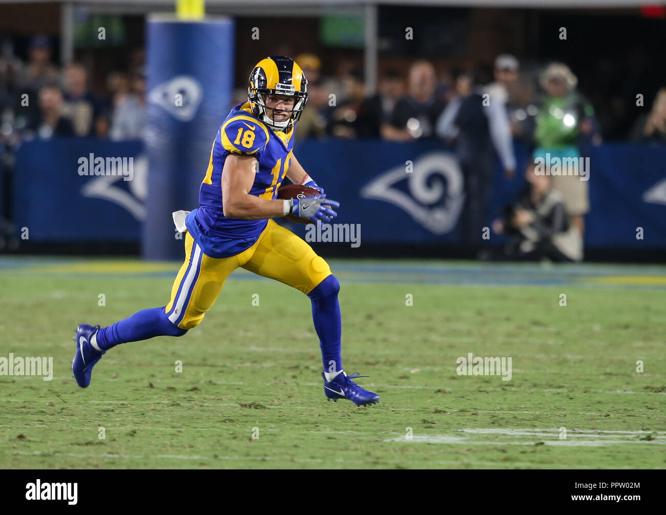 Los Angeles Ca Usa 27th Sep 2018 Los Angeles Rams Wide Receiver Cooper Kupp 18 During The Nfl Minnesota Vikings Vs Los Angeles Rams At The Los Angeles Memorial Coliseum In Los