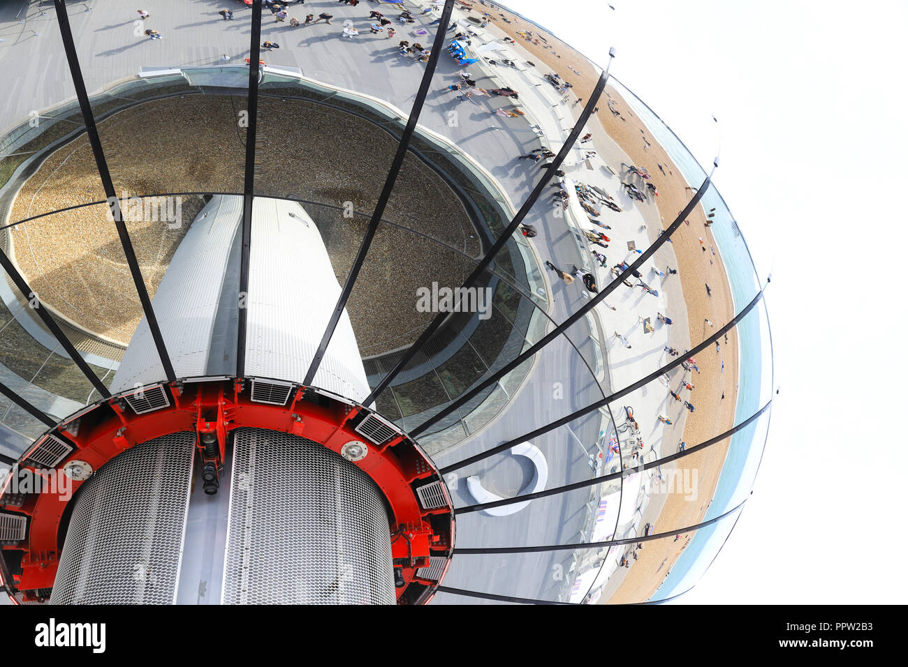 The glass viewing pod on the 162 metre observation tower that is the Brighton i360, on the seafront, in East Sussex, in the UK Stock Photo