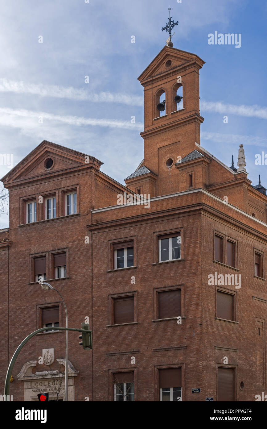 MADRID, SPAIN - JANUARY 23, 2018:  Building of College of the Sacred Heart of Jesus in City of Madrid, Spain - Stock Image