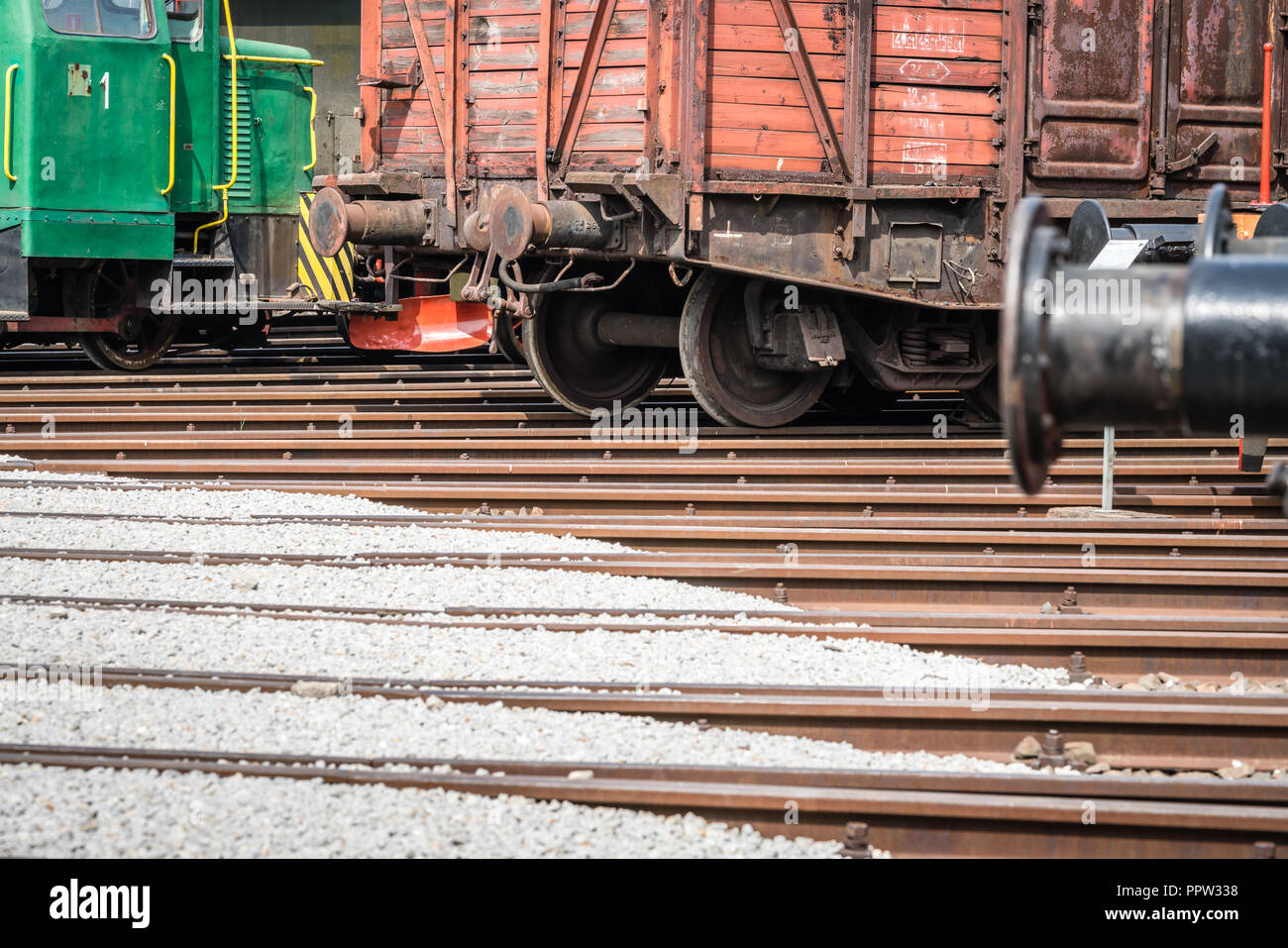 Jaworzyna Slaska, Poland - August 2018 : Old disused retro train locomotives and carriages on the side tracks in the depot in the Museum of Industry a - Stock Image