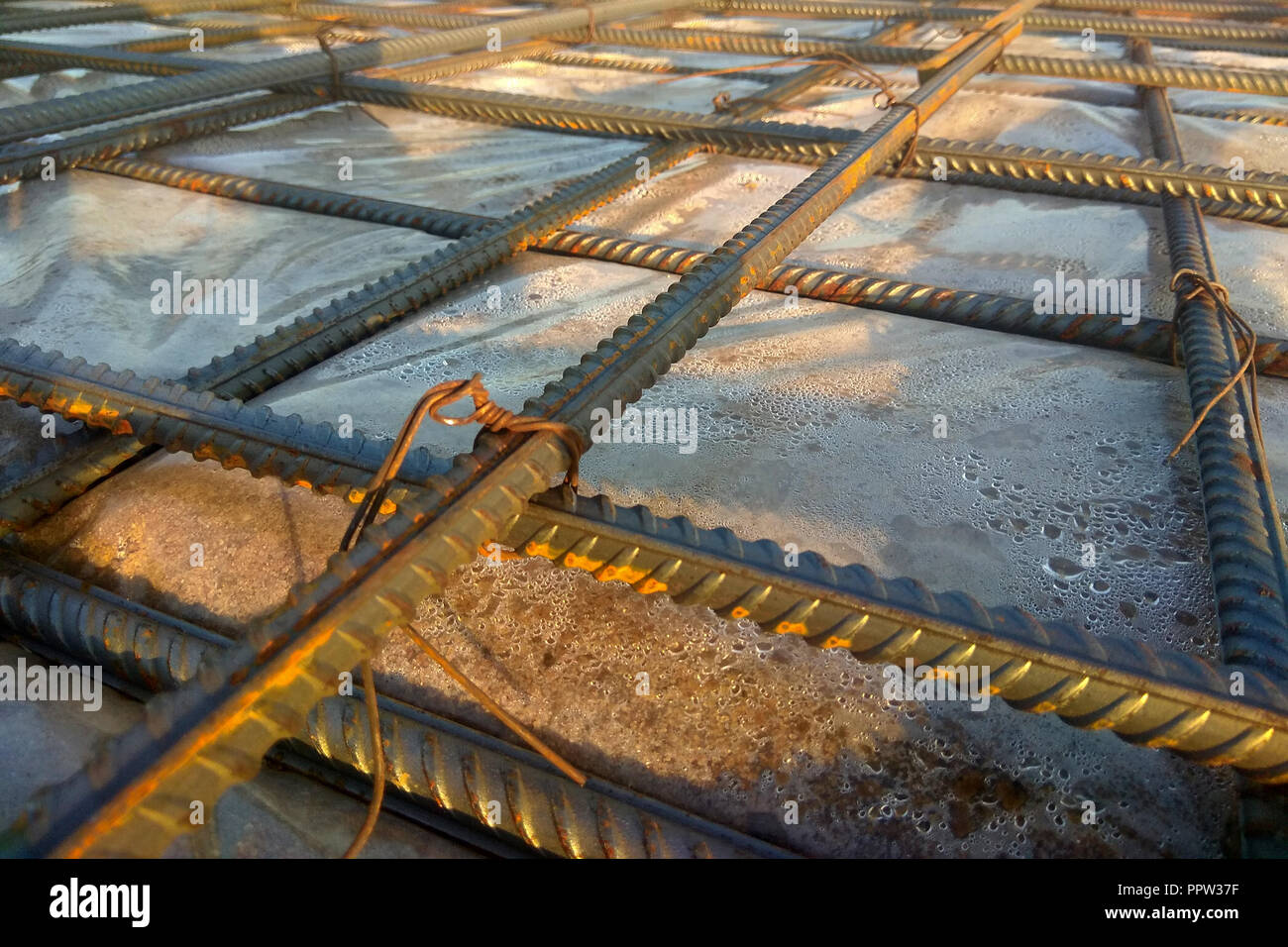 Construction workers fabricating steel reinforcement bar at the construction site 2018 Stock Photo