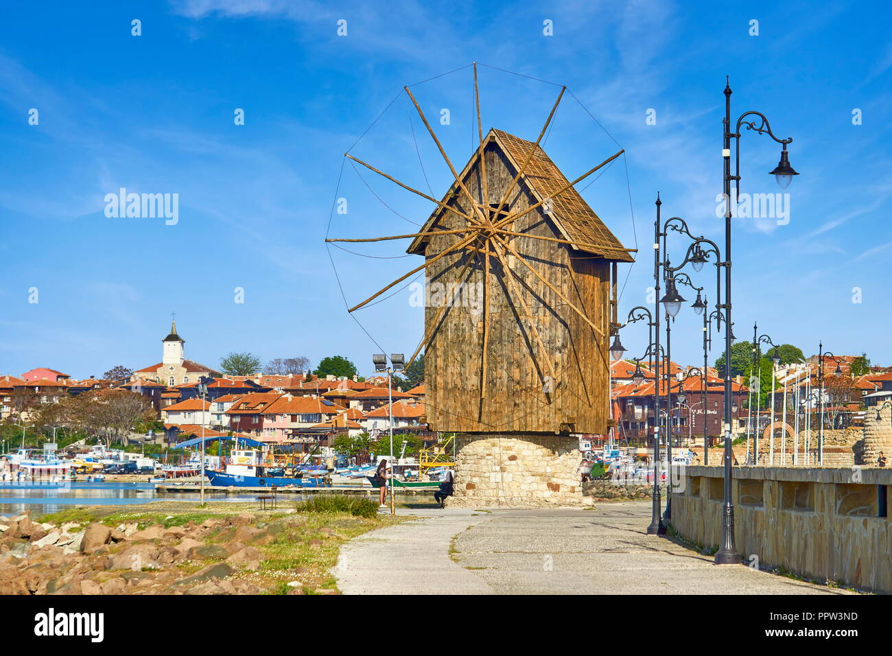 Wooden windmill, old town Nessbar, Bulgaria - Stock Image
