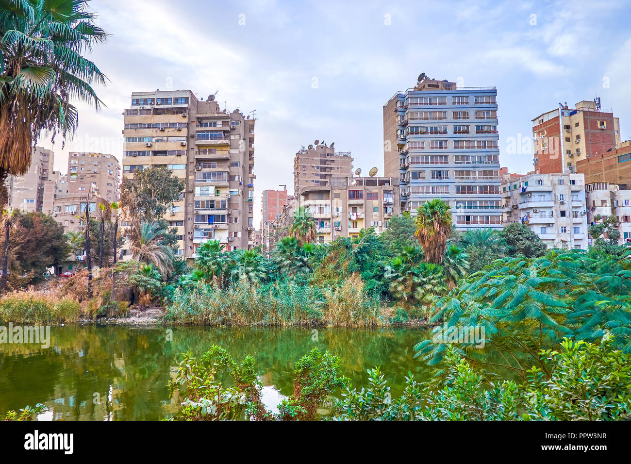 The old decrepit residential buildings in Roda (Rawdah) island with a view on the Nile branch, Cairo, Egypt - Stock Image