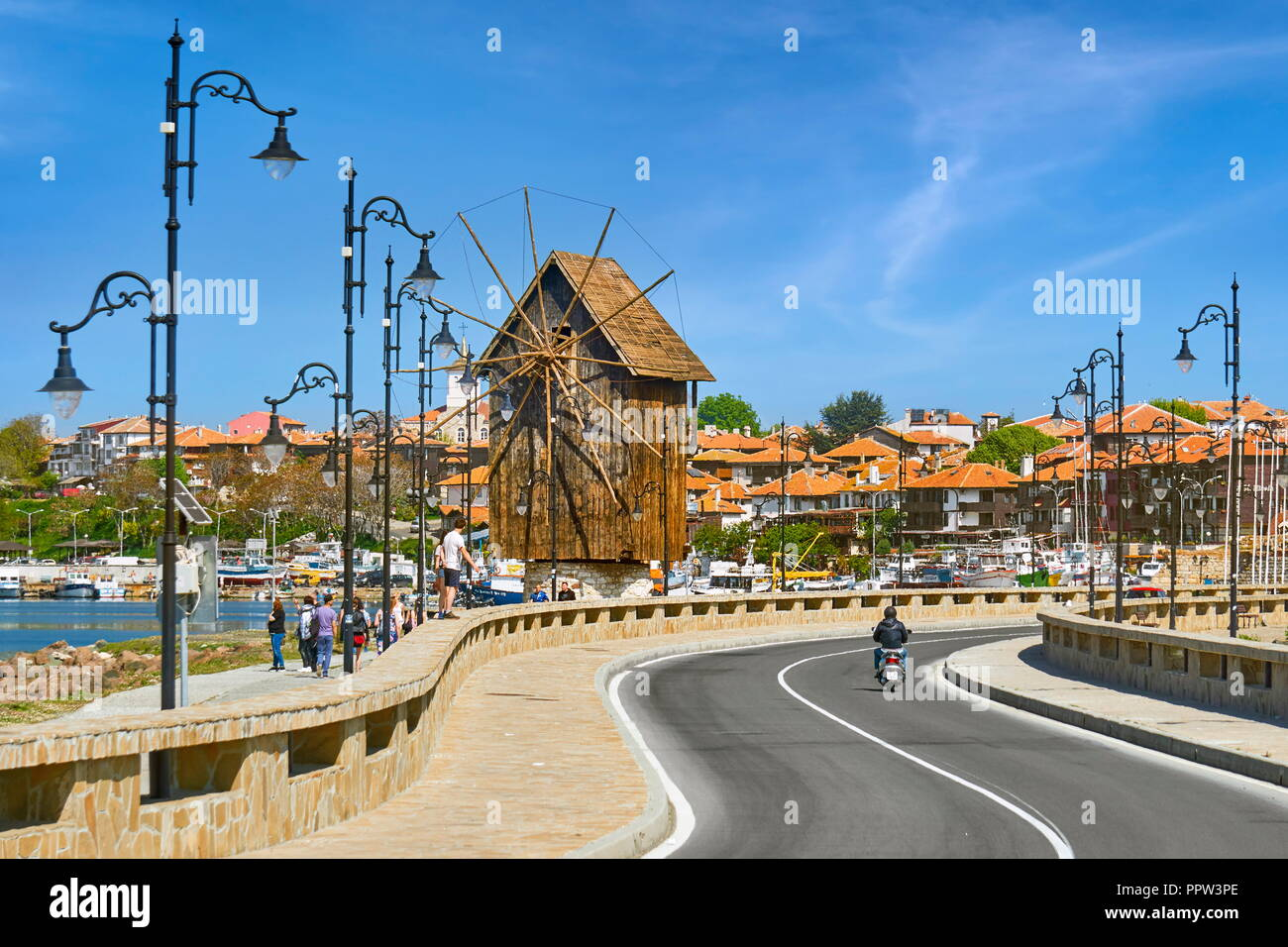 Wooden windmill, Nessbar old town, Bulgaria - Stock Image