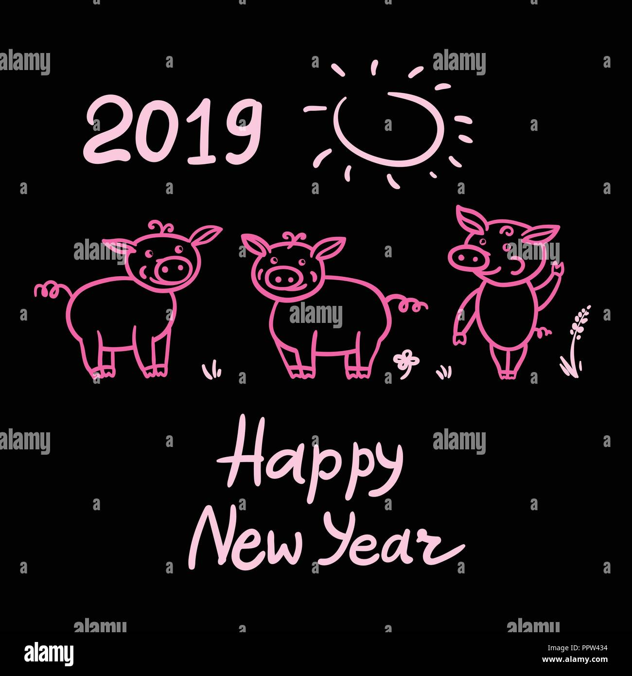 set of pigs cute doodle pink pencil hand drawing inscription happy new year chinese year sign 2019 vector illustration isolated on black background