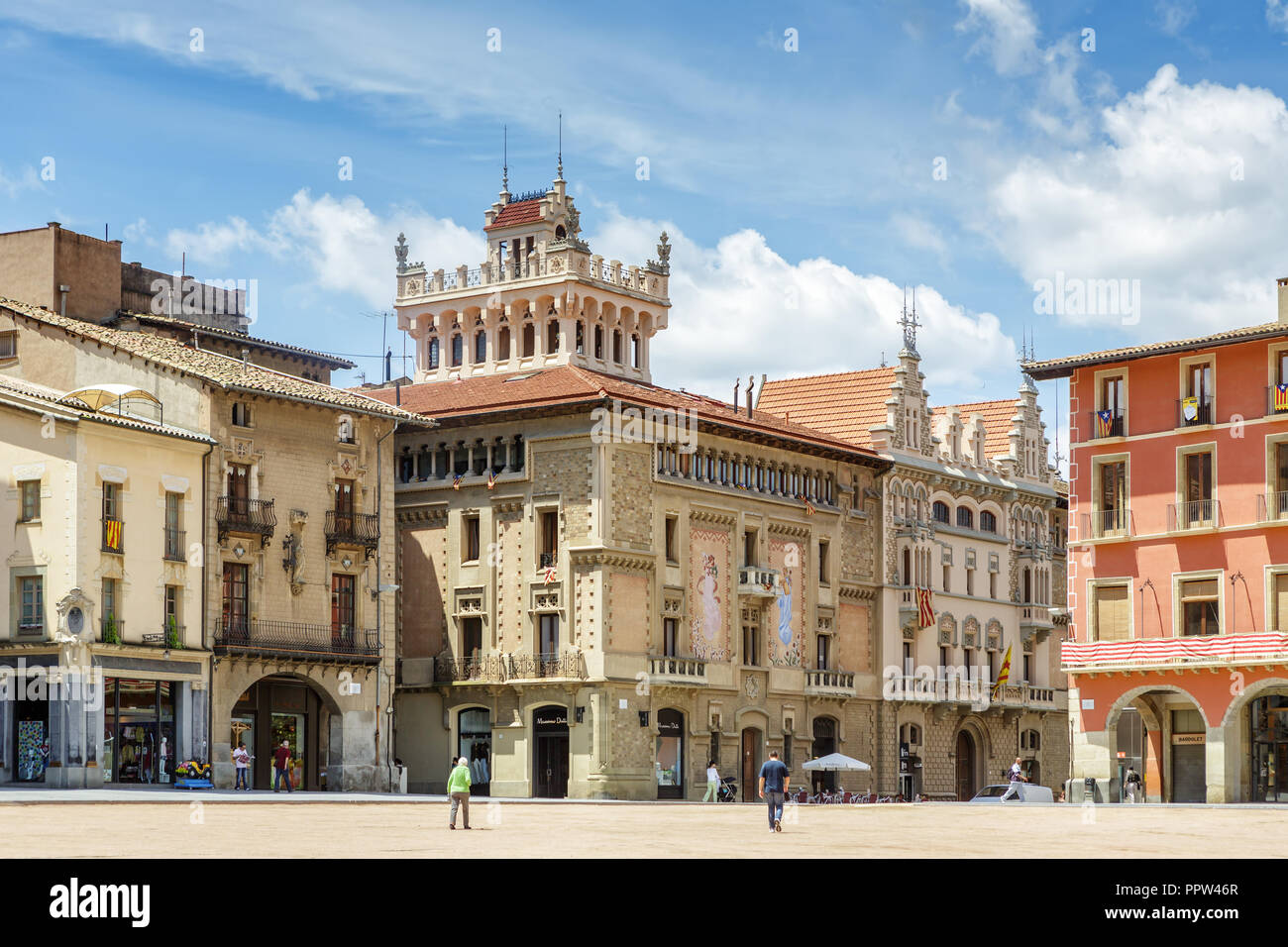 VIC, SPAIN - JUNE 19, 2014: Historic buildings in the Placa Major square. - Stock Image