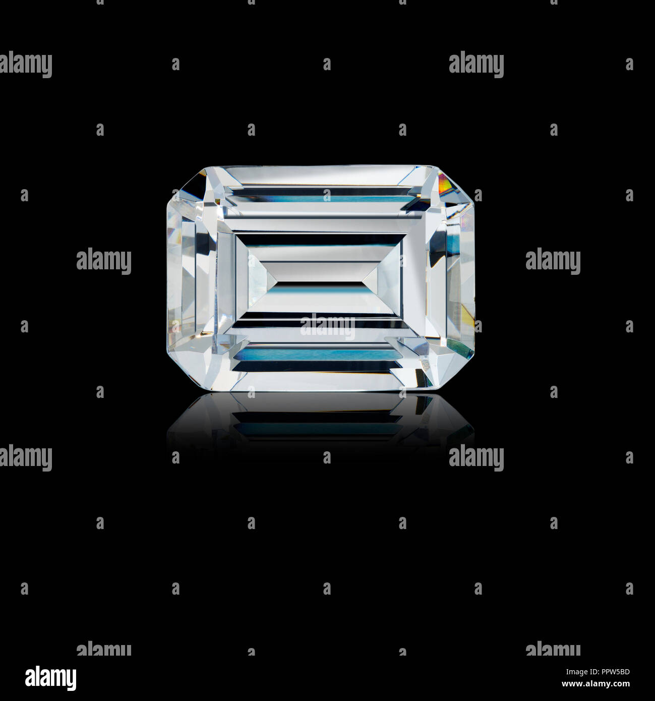 Emerald Cut Diamond Gemstone Gem - Stock Image
