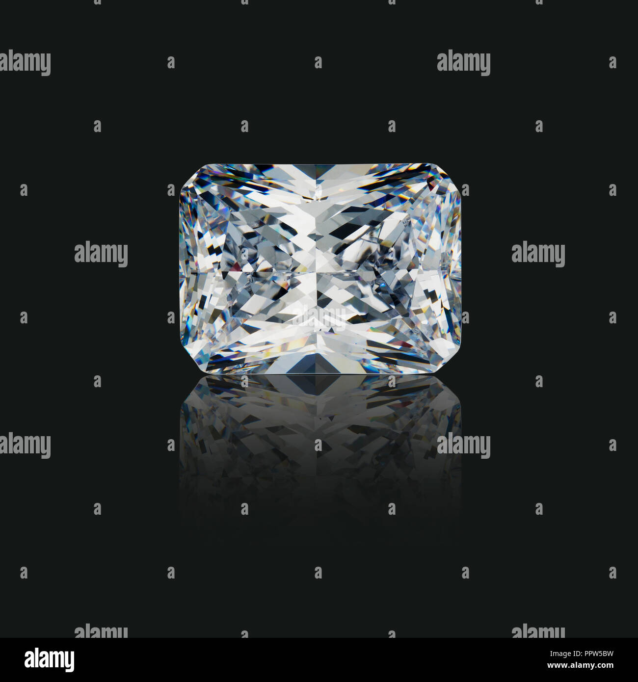 Emerald Cut Radiant Diamond Gemstone Gem - Stock Image