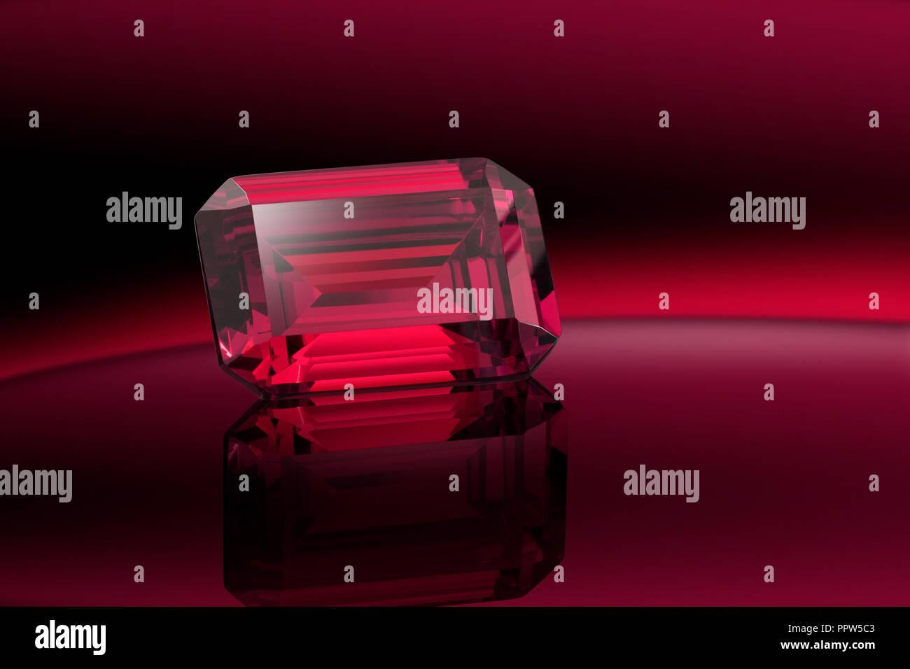 Emerald Cut Ruby Gemstone Gem - Stock Image