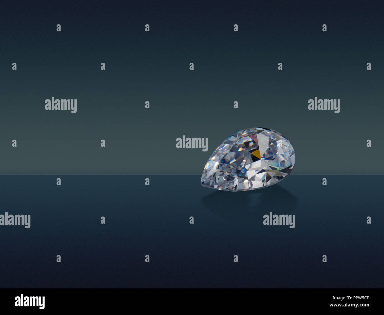 Pear Tear Drop Cut Diamond Gemstone Gem - Stock Image