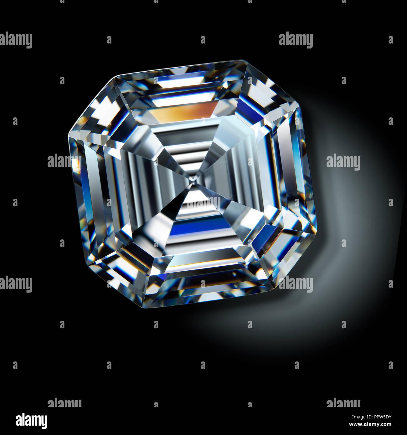 Asscher Cut Diamond Gemstone Gem Stock Photo