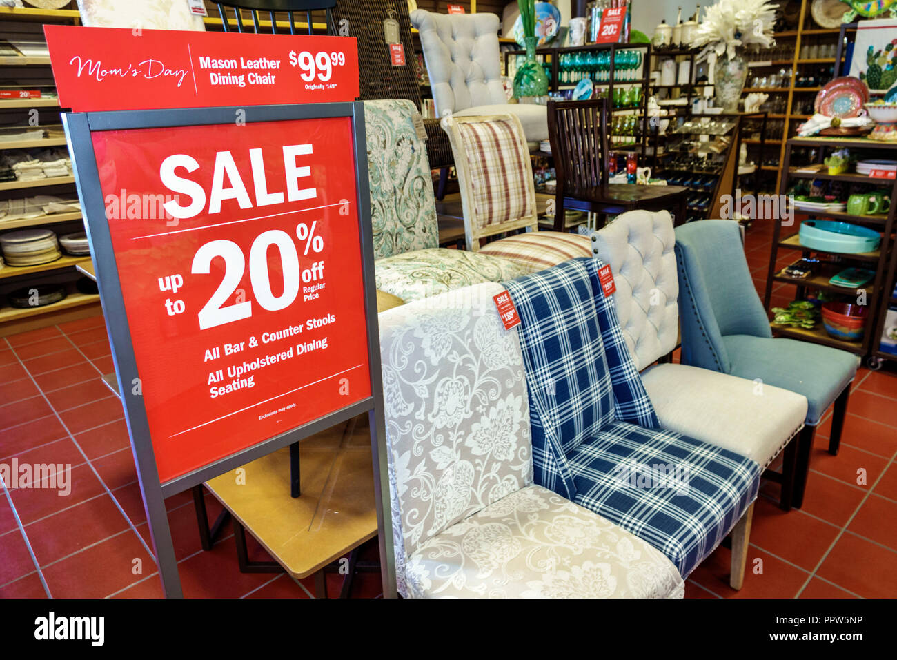 Miami Beach Florida Pier 1 Imports shopping sale display 20% upholstered chairs - Stock Image
