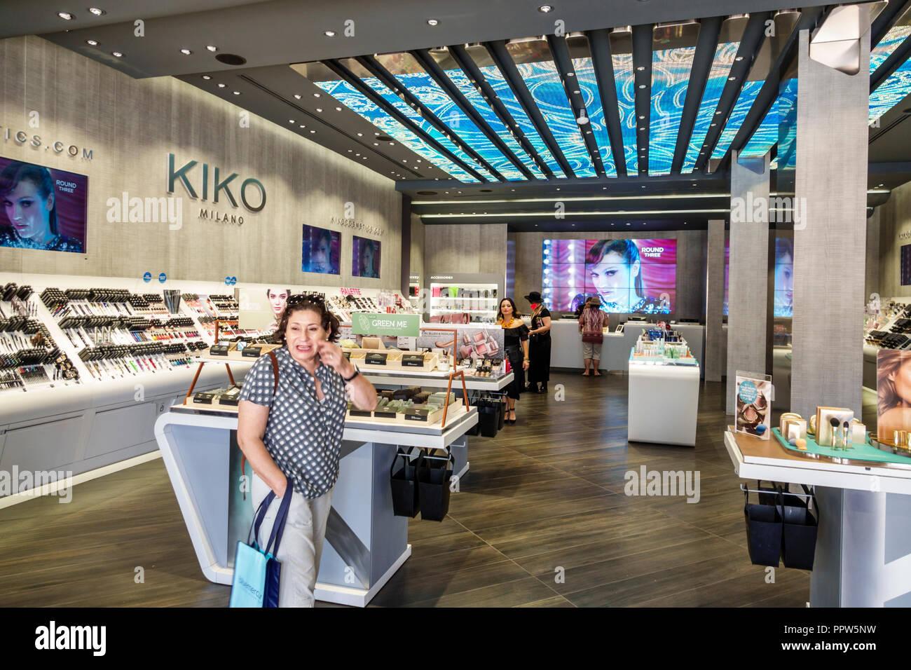 Miami Beach Florida Lincoln Road shopping Kiko Milano inside makeup cosmetics Stock Photo