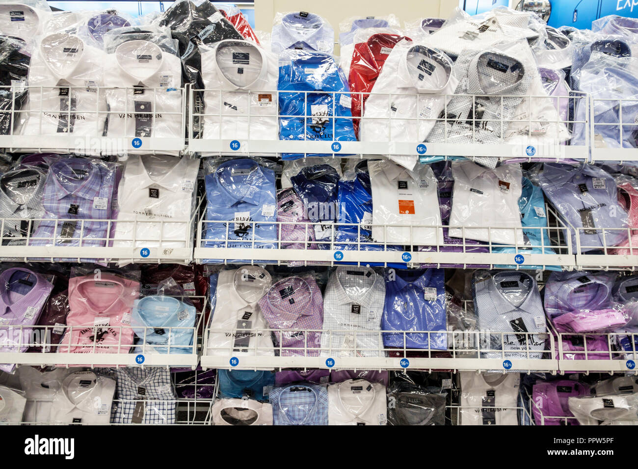 Miami Beach Florida Ross Department Store shopping inside display sale men's dress shirts wrapped - Stock Image