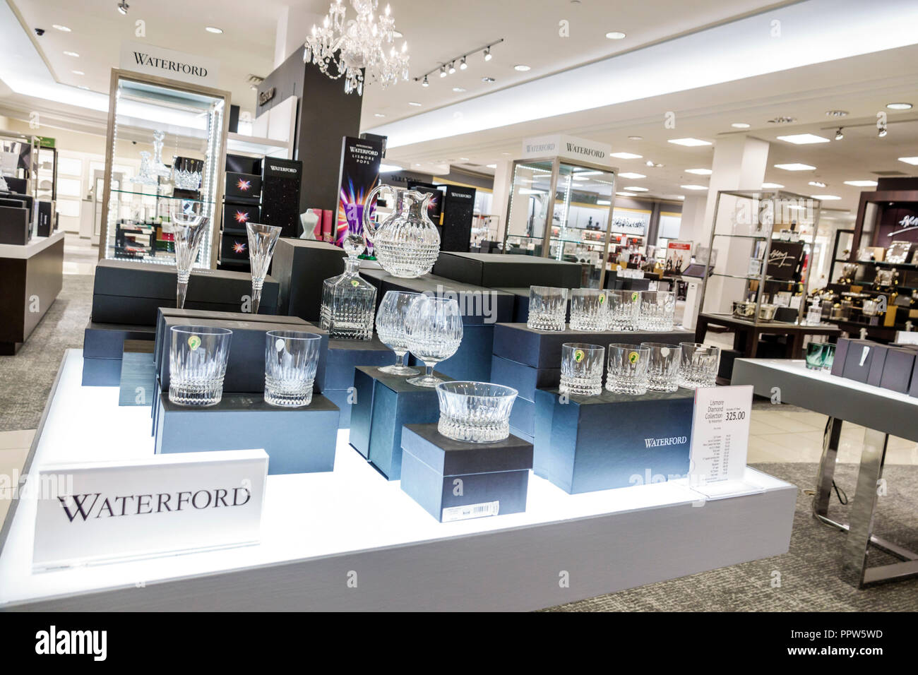 Miami Florida Kendall Dadeland Mall shopping Macy's Department Store inside Waterford crystal glass display sale - Stock Image