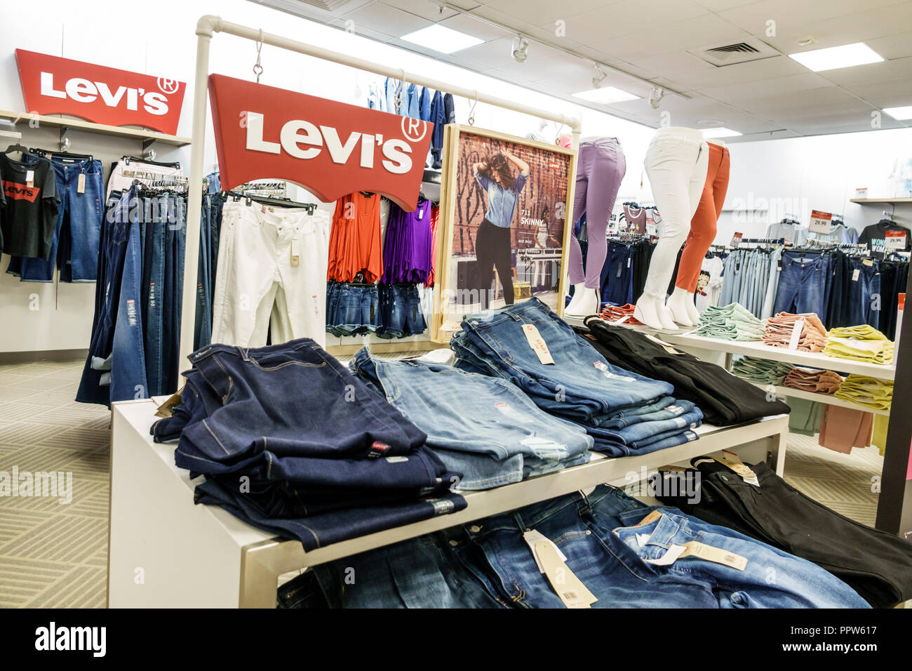 2ba9fc81b Miami Florida Kendall Dadeland Mall shopping Macy s Department Store inside  display sale Levi s denim jeans women s
