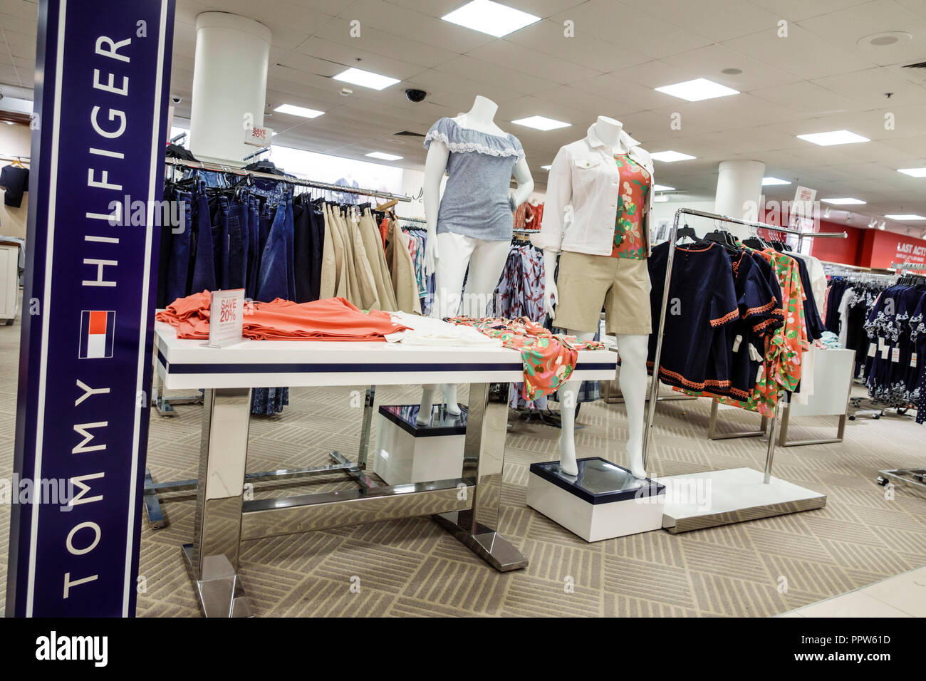 cd36f3c8 Miami Florida Kendall Dadeland Mall shopping Macy's Department Store inside  display sale mannequins Tommy Hilfiger clothing