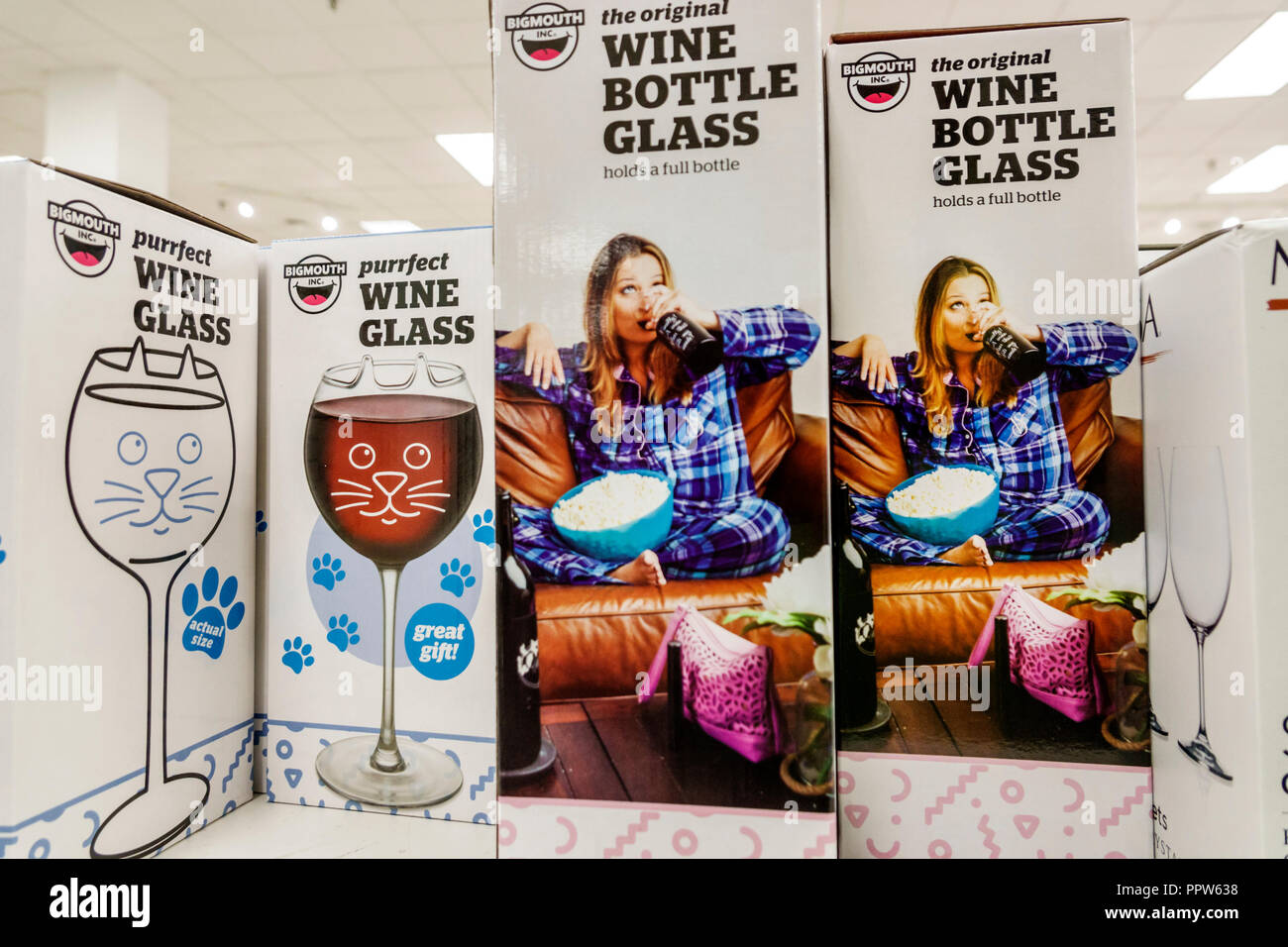 Miami Florida Kendall Dadeland Mall JC J.C. Penny Department Store shopping inside sale display boxes wine bottle glass - Stock Image